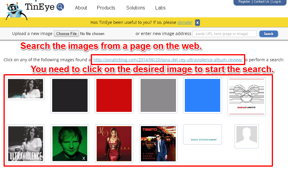 Search The Images From a Page Across The Entire Web
