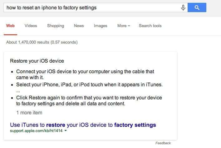 How to Reset an Iphone Google Answer