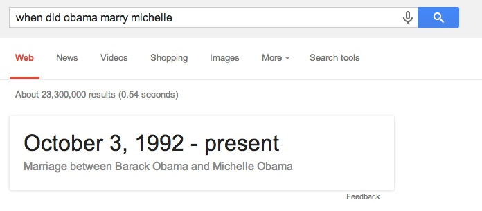 When Did Obama Marry Michelle Google Answer