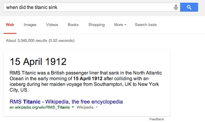When Did Titanic Sink Google Answer