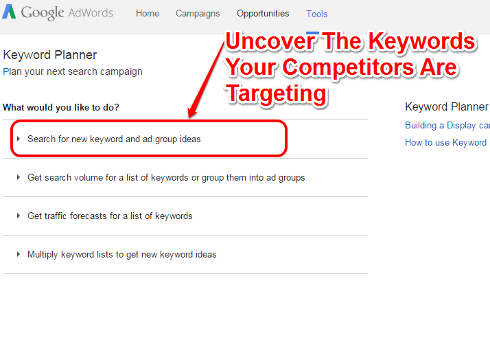 Keywords your Competitors Target