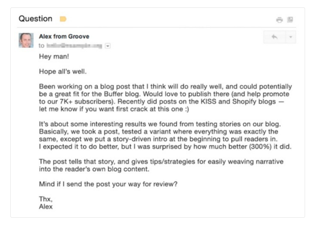 how to write a perfect cold outreach email example alex from groove - Email Examples