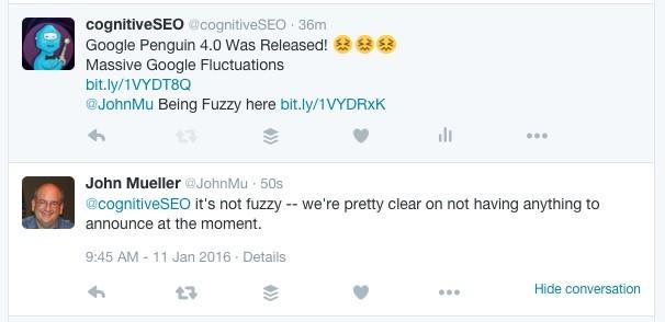 Confirmarea actualizării penguinului nu există încă