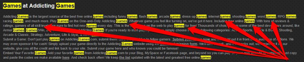 Keyword-stuffing addictinggames.com