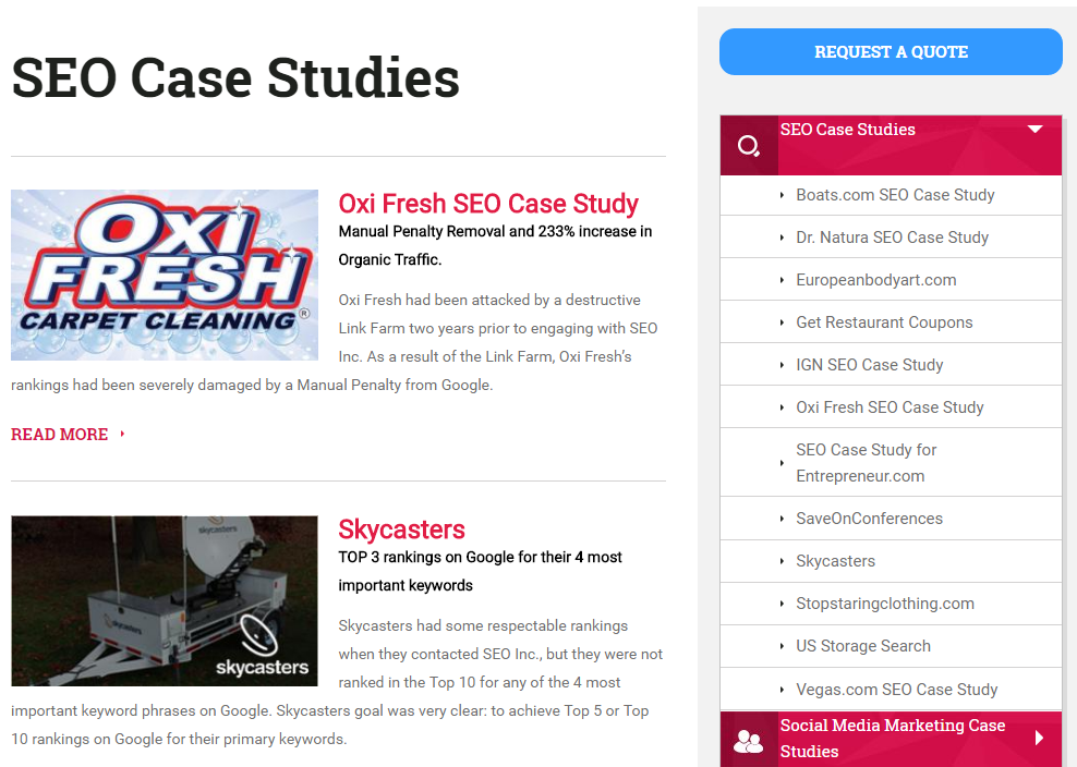 SEO Company case studies