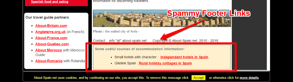 Spammy footer links about-spain.net