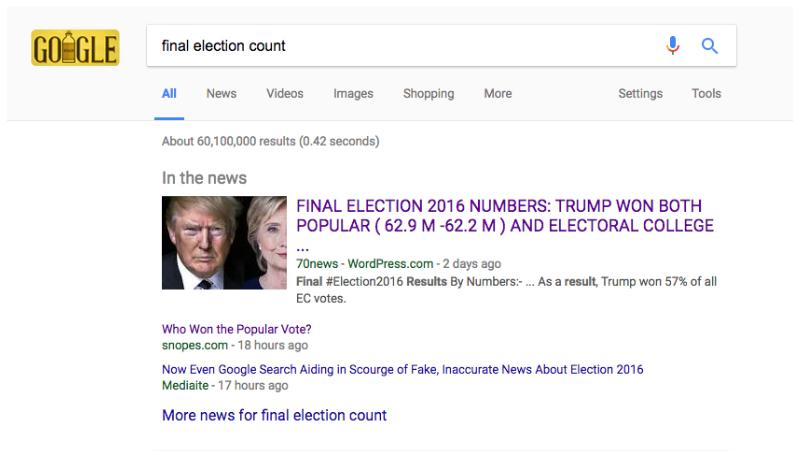 Google Fake News USA Election