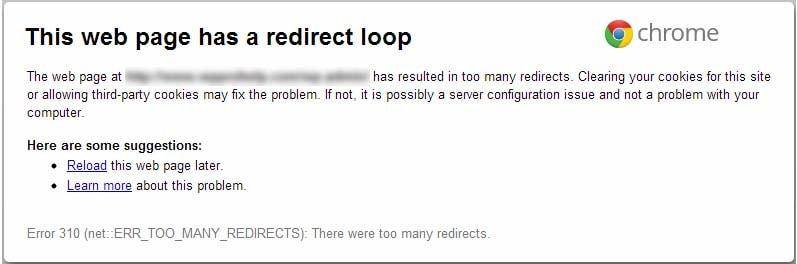 Loop Redirect Error 310