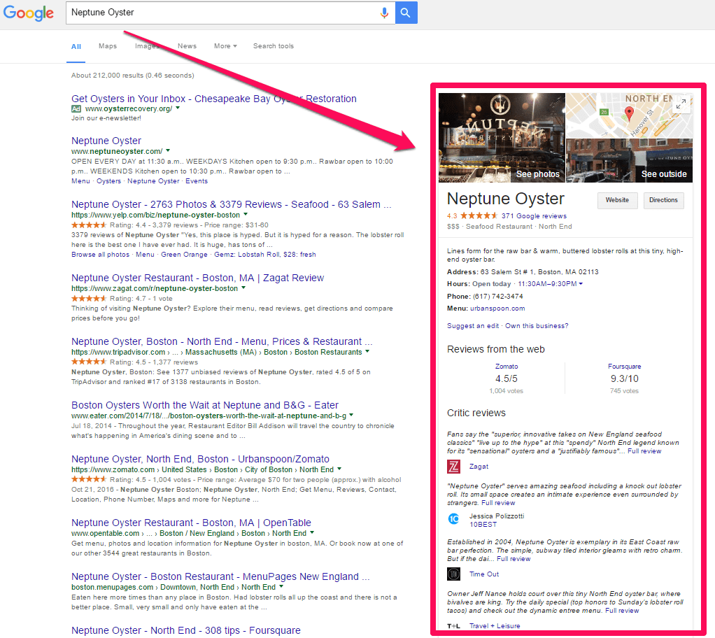 Neptune Oyster in Boston search result