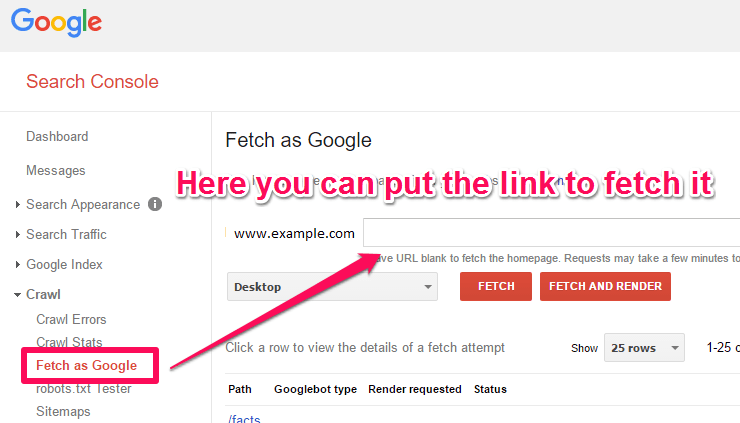 Webmaster Tools Fetch as Google