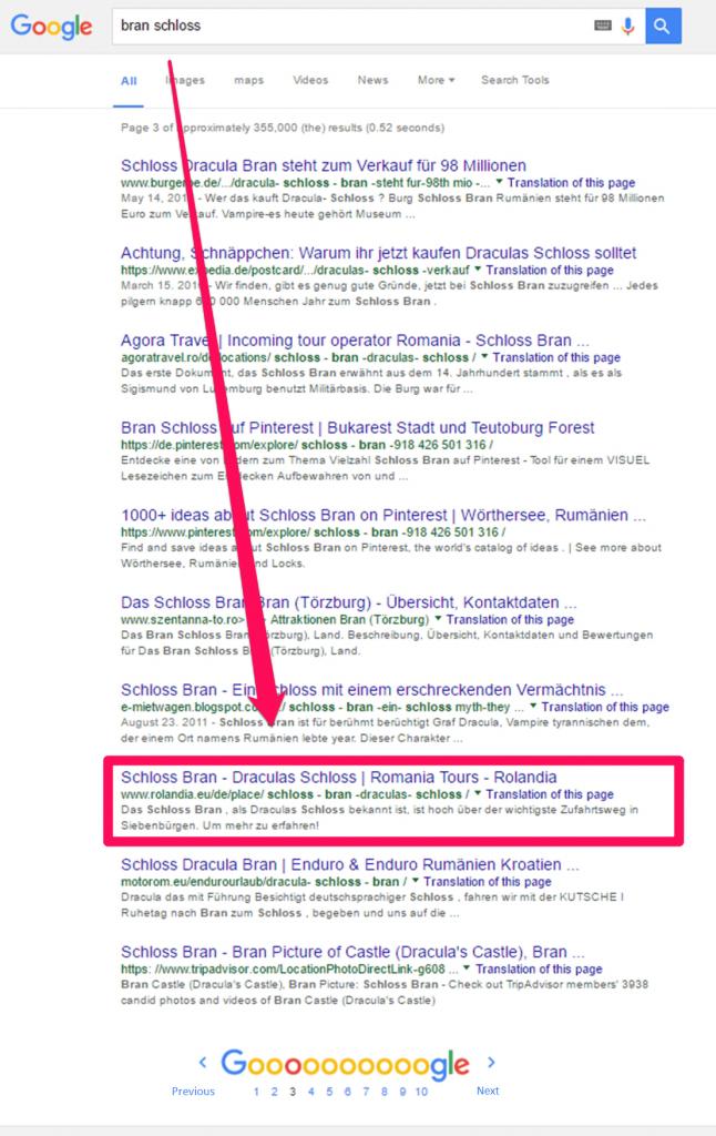 Keyword search on Google