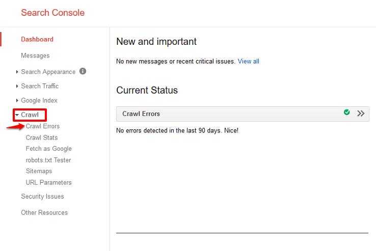 Crawl errors dashboard