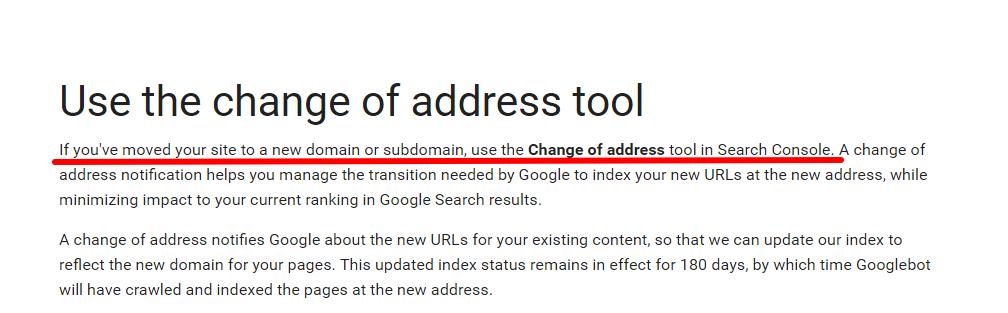 change of address tool Google