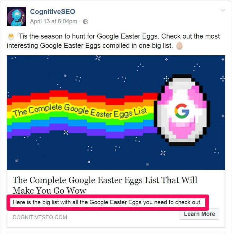 Facebook share cognitiveSEO article