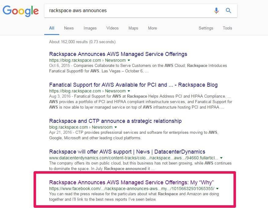 Facebook note Google Index