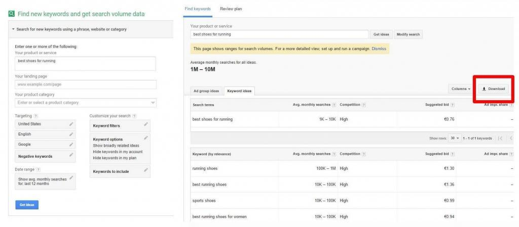 Make use of Google Keyword Planner