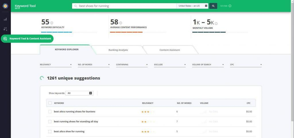 keyword research tool from cognitiveseo