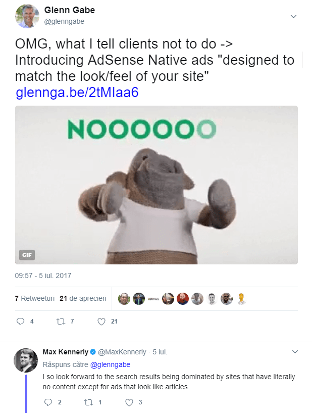 Glenn Gabe tweet about native ads