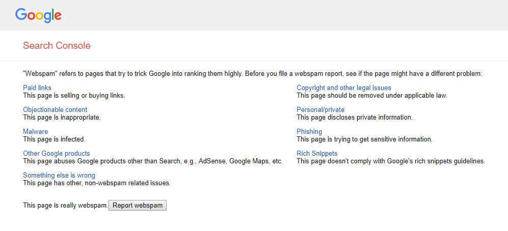 how to file a spam report to Google