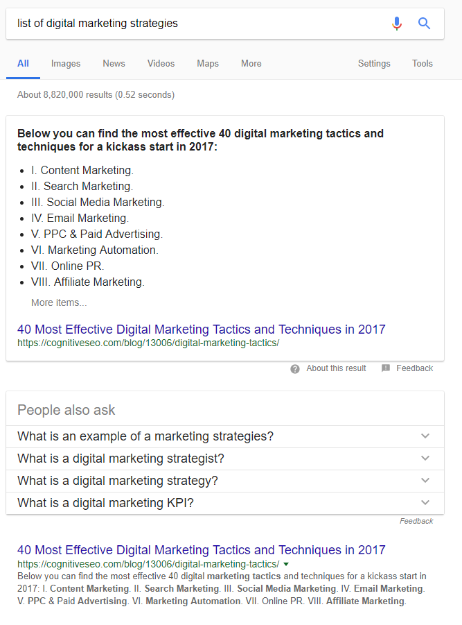 liste des stratégies de marketing digital SERP