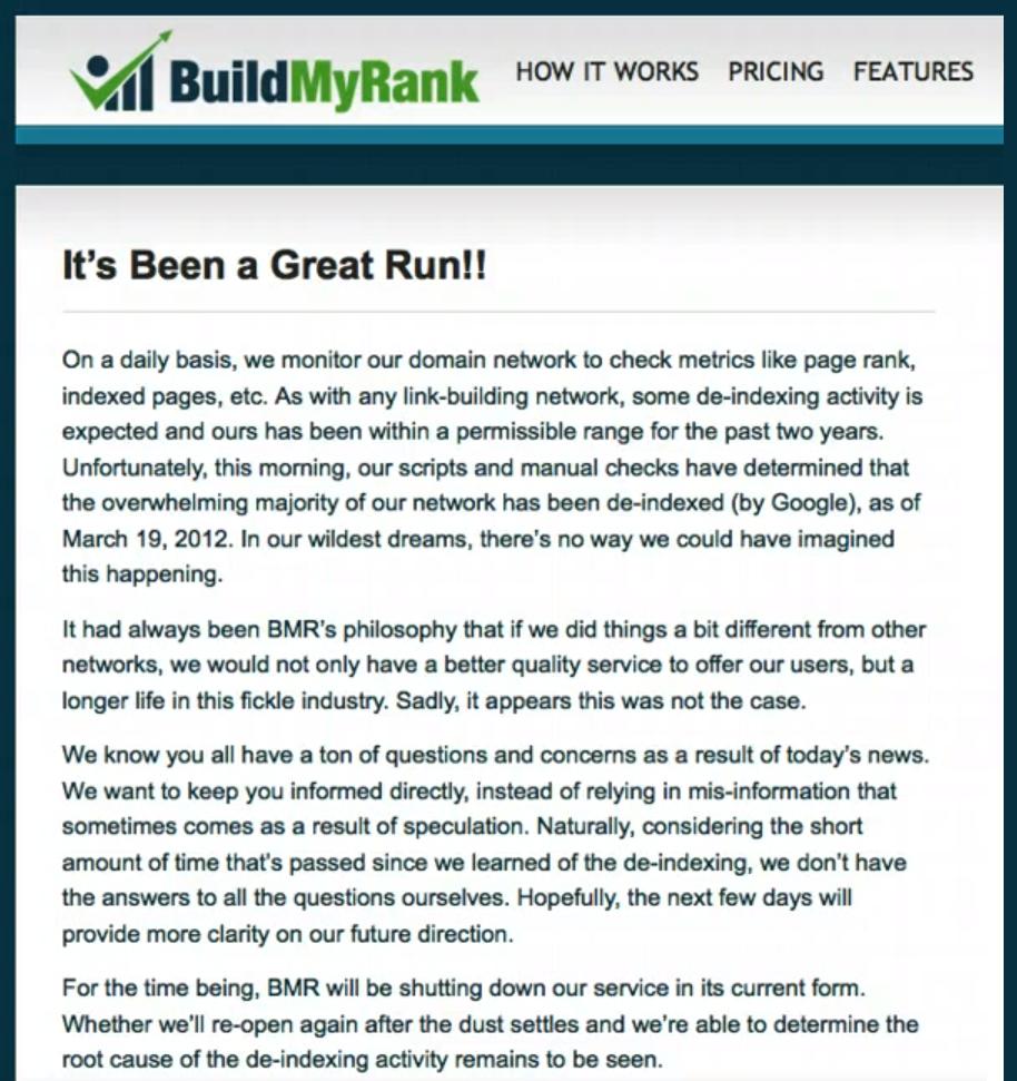 private blog network shutting down