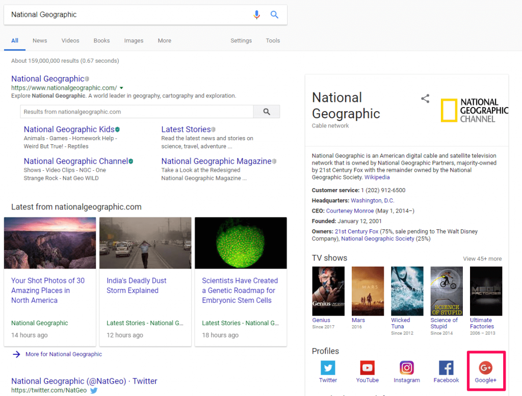 Google plus account not featured in results for National Geographic
