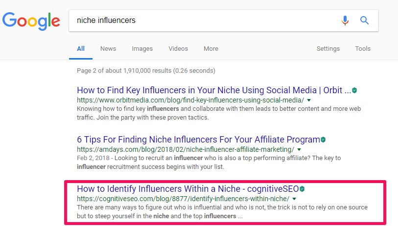 Metadescription for nicher influencers