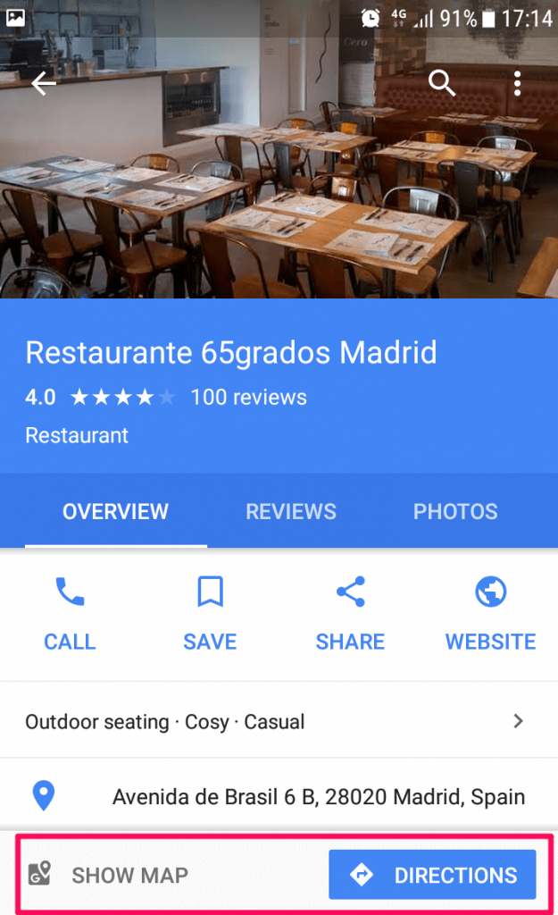Restaurant - get directions in maps