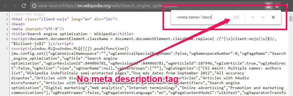 wikipedia no meta description