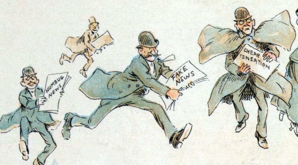 Funny drawing of 1950's journalists spreading newspapers with the text fake news written on them.