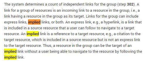 implied links google patent
