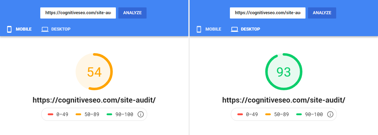 PageSpeed Mobile vs Desktop
