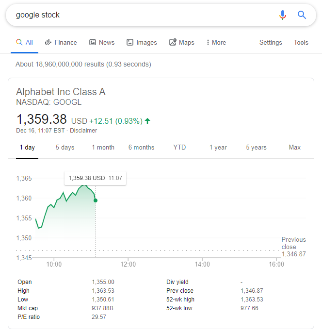 stock de boîte de réponse google