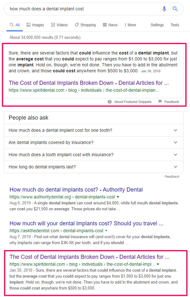 how much does a dental implant costs SERP