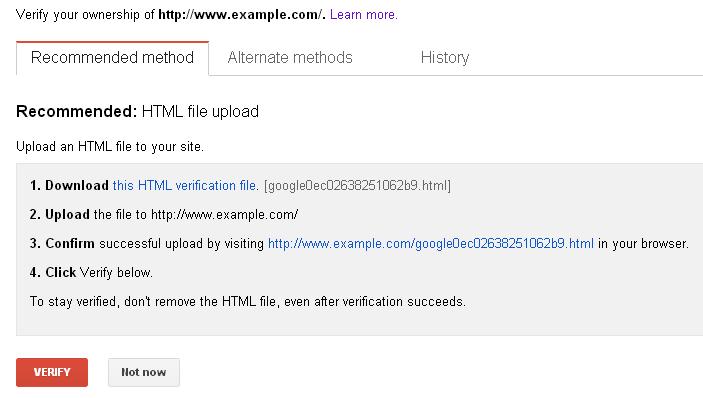 webmaster tools verificatiom