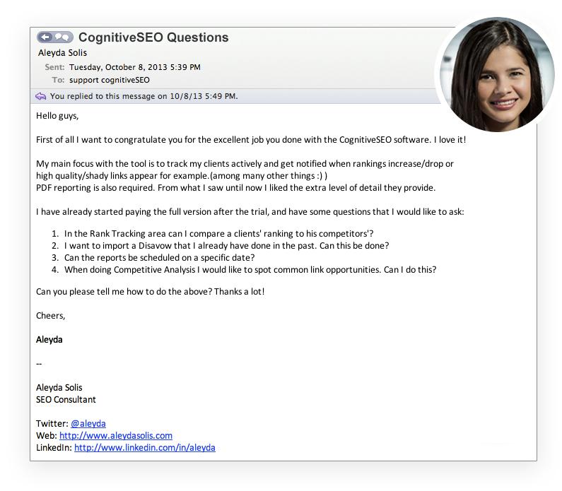 Aleyda Solis cognitiveSEO Questions